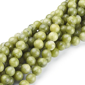 Natural Taiwan Jade Beads, Round, Olive Drab, about 8mm in diameter, hole: about 1mm, 15 inches~16 inches(X-GSR032)