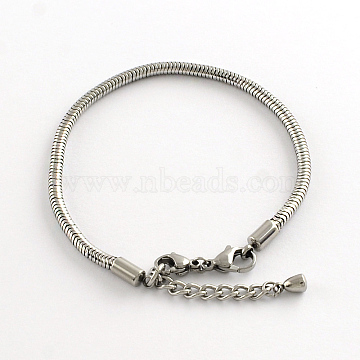 304 Stainless Steel European Style Snake Chains Bracelets, with Lobster Claw Clasp, Stainless Steel Color, 195x3mm(X-STAS-R066-04)