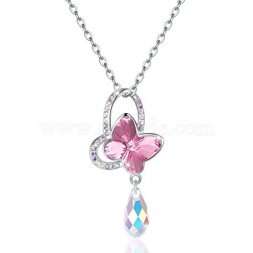 Trendy 925 Sterling Silver Pendant Necklace, Butterfly with Austrian Crystal, Platinum, 209_Rose, 16.14 inches(41cm)(NJEW-BB30754-A)