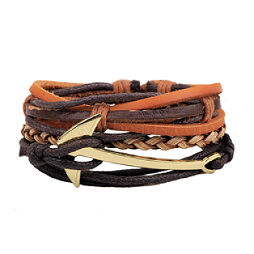 Multi-strand Bracelets, Stackable Bracelets, with Imitation Leather, Waxed Cotton Cord and Hemp Rope, Anchor, Golden, Colorful, 60mm(2-3/8 inches); 3strands/set(BJEW-N0011-016)