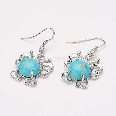 Synthetic Turquoise Pendants and Dangle Earrings Jewelry Sets(SJEW-F145-01P)-4