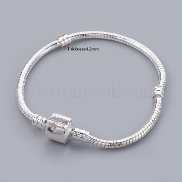 Brass European Bracelets, with Brass Clasp, Clasp without Sign, Silver Color Plated, about 16cm long 3mm thick, 2mm hole(X-PPJ008Y-S)