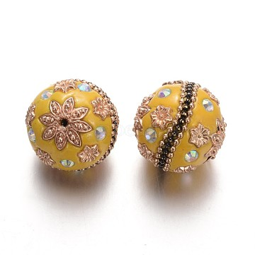 Round Handmade Indonesia Beads, with Rhinestones and Golden Plated Alloy Findings, Goldenrod, 24mm, Hole: 2mm(IPDL-L001-02A)