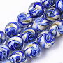 Handmade Gold Sand Lampwork Beads Strands, Round, Blue, 11.5~12.5x11~12mm, Hole: 1.2mm; about 45pcs/Strand, 20.08''