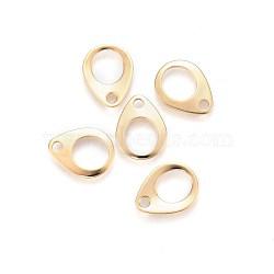Onglets de chaîne en 304 acier inoxydable, connecteurs d'extension de chaîne, larme, creux, or, 13x10x0.9~1mm, Trou: 2mm(STAS-F192-029G)