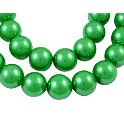 "Rondes perles de verre perles brins, teint, verte, 4mm, trou: 1mm; environ 216 pcs/chapelet, 32""(X-JPS4MMY-4)"