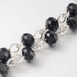 Handmade Rondelle Glass Beads Chains for Necklaces Bracelets Making, with Iron Eye Pin, Unwelded, Silver Color Plated, Black, 39.3 inches, about 92pcs/strand(X-AJEW-JB00121-03)