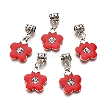 Alloy Enamel European Dangle Beads, with Rhinestone, Large Hole Pendants, Lead Free & Cadmium Free, Flower, Red, 34mm, flower: 21x18x3mm, Hole: 4.5mm(ENAM-F139-01A-AS-RS)