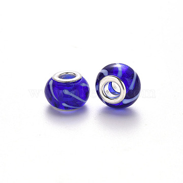 Handmade Lampwork European Beads, Large Hole Rondelle Beads, with Platinum Tone Brass Double Cores, Blue, 14~15x9~10mm, Hole: 5mm(LPDL-N001-027-C03)
