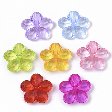 Transparent Faceted Acrylic Beads, Flower, Mixed Color, 14x14x4mm, Hole: 1.6mm, about 1280pcs/500g(TACR-Q273-001)