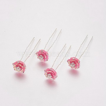 Silver HotPink Resin Hair Forks