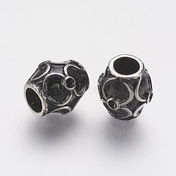 Supports de strass de perles européennes en 304 acier inoxydable, Perles avec un grand trou   , tambour, argent antique, 12x11mm, trou: 5 mm; apte à 1 mm strass(STAS-J022-125AS)