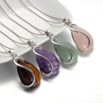 Teardrop Platinum Plated Brass Gemstone Pendant Necklaces, with Snake Chains and Lobster Claw Clasps, Mixed Stone, 16.9 inches(NJEW-JN01185)
