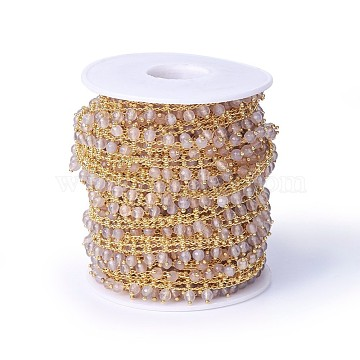 Handmade Dyed Natural Faceted Agate Beaded Chains, Soldered, with Brass Findings, Real 18K Gold Plated, Long-Lasting Plated, with Spool, Misty Rose, 10~10.5x4~4.5mm, about 16.4 Feet(5m)/roll(CHC-P007-B01)