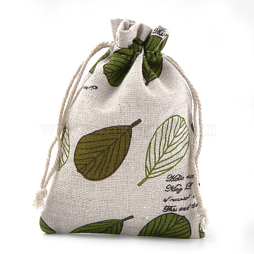 Polycotton(Polyester Cotton) Packing Pouches Drawstring Bags, with Printed Leaf, Colorful, 13.1~14.5x9.5~10cm(X-ABAG-S004-07E-10x14)