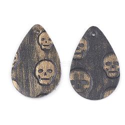 Pendentifs en cuir pu, déposer avec le crâne, verge d'or, 39x25x1.5mm, Trou: 1.5mm(FIND-T020-032H)