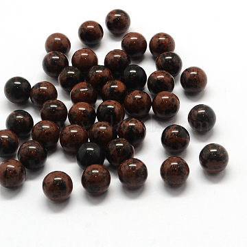 Round Natural Mahogany Obsidian Beads, Gemstone Sphere, No Hole/Undrilled, 9~11mm(G-Q450-07)