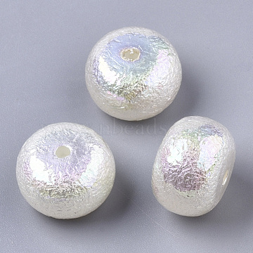 ABS Plastic Imitation Pearl Beads, AB Color Plated, Rondelle, Creamy White, 14.5x10mm, Hole: 2mm(X-SACR-N009-28)