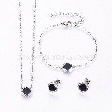 304 Stainless Steel Jewelry Sets, Pendant Necklaces & Stud Earrings & Bracelets, with Enamel, Square, Stainless Steel Color, 16.93 inches(43cm); 7-1/8 inches(18cm); 11x11x2.5mm; Pin: 0.8mm(SJEW-H129-27P)