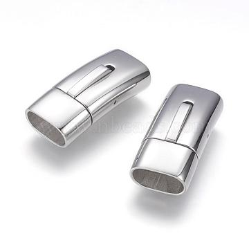 304 Stainless Steel Bayonet Clasps, Rectangle, Stainless Steel Color, 30x14x9.5mm, Hole: 6.5x12mm(STAS-G143-31A)