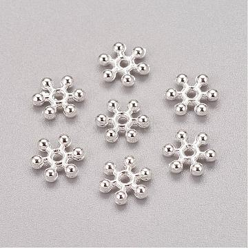 Zinc Alloy Beads Spacers, Cadmium Free & Lead Free, with One Hole, Snowflake, Silver Color Plated, 8.5x2.5mm, Hole: 1.5mm(X-PALLOY-Q062-S)