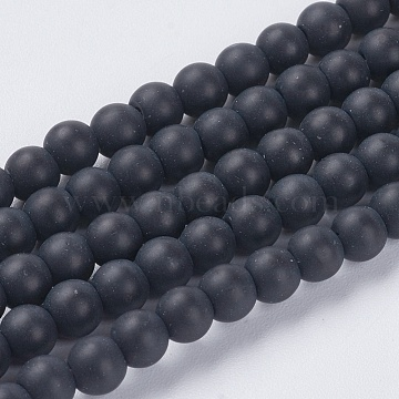 Synthetic Black Stone Beads Strands, Round, Frosted, Black, 4mm, Hole: 1mm; about 93pcs/strand, 14.6inches(X-G-G508-6)