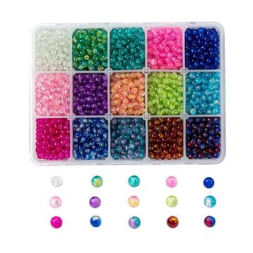 Spray Painted Crackle Glass Beads Strands, Round, Mixed Color, 4mm, Hole: 1.1~1.3mm, 15 Colors, 200pcs/color, 3000pcs/box(CCG-JP0001-03A)