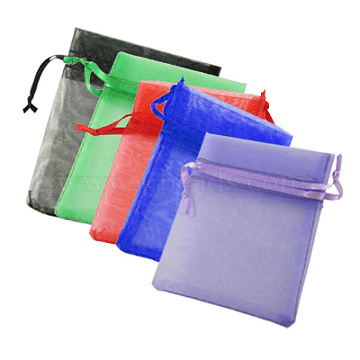 Organza Gift Bags, Plain Style, with Drawstring, Rectangle, Mixed Color, 15x10cm(X-OP-ZX001-10x15cm-M)
