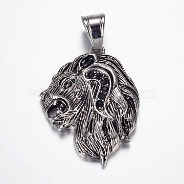 Antique Silver Lion Stainless Steel+Rhinestone Pendants