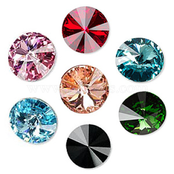 Austrian Crystal Rhinestone Cabochons, Crystal Passions, Foil Back, Faceted Rivoli, 1122, Mixed Color, 12mm(1122-12mm-F-M)