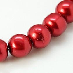 Perle de verre ronde perles en vrac pour collier de bijoux fabrication artisanale, firebrick, 6 mm, trou: 1 mm, environ 140 pcs / brin(X-HY-6D-B73)