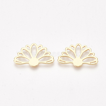 Brass Filigree Joiners, Flower, Nickel Free, Real 18K Gold Plated, 13.5x20.5x1mm(X-KK-S350-322)