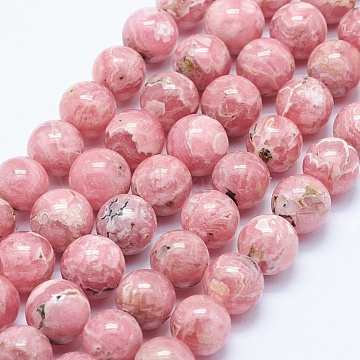 Natural Rhodochrosite Beads Strands, Round, 9~10mm, Hole: 1mm, about 44pcs/strand, 15.1 inches(38.5cm)(G-J369-03-10mm)