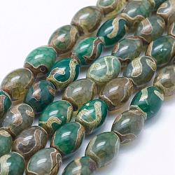 """Chapelets de perles en agate naturelle de style tibétain dZi, teints et chauffée, ovale, verte, 13~14x10mm, Trou: 1mm, Environ 27 pcs/chapelet, 14.9""""~15.1""""(TDZI-K001-07A)"""