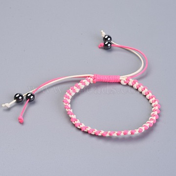Waxed Polyester Cord Braided Bead Bracelets, with Non-Magnetic Synthetic Hematite Beads, Pink, 2-1/8 inches~2-1/4 inches(5.4~5.6cm)(BJEW-JB04341-04)