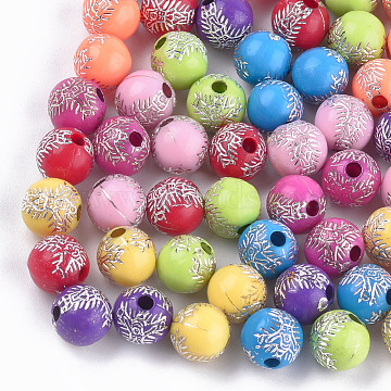 Plating Acrylic Beads, Metal Enlaced, Round with Crucifix Cross, For Easter, Mixed Color, 8mm, Hole: 2mm; about 1800pcs/500g(PACR-T006-17)