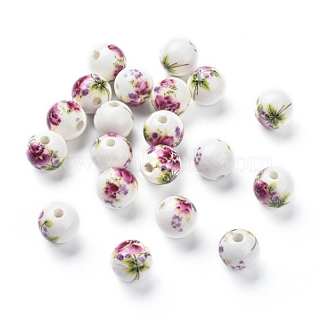 Handmade Porcelain Beads, Round, Purple, about 12mm in diameter, hole: 2.5mm(X-CFF042Y)