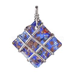 main pendentifs en verre de feuille, sable d'or et millefiori, avec les résultats en laiton plaqué de platine, losange pendentifs, bleu royal, 63x50x14 mm, trou: 6x8 mm(PALLOY-J355-06B)