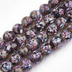 Perles vernissées de sable d'or manuelles , fleur intérieure, rond, noir, 8~8.5x7~8mm, Trou: 1.5~2mm(X-LAMP-T006-10A)