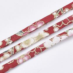 cordons de tissu plat, motif de fleur, coloré, 5x1.5 mm; sur 10 m / rouleau(OCOR-T013-04A-02)