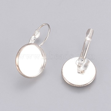 Brass Leverback Earring Findings, Lead Free and Cadmium Free, Silver Color Plated, 25~27x16mm; Tray: 14mm(X-KK-C1244-14mm-S-RS)