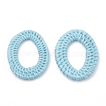 Handmade Spray Painted Reed Cane/Rattan Woven Linking Rings, For Making Straw Earrings and Necklaces,  Dyed, Pearlized Effect, Oval, SkyBlue, 46~54x32~40x4~5mm; inner measure: 28~37x16~19.5mm(X-WOVE-N007-04C)