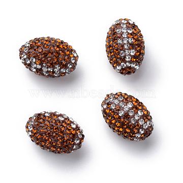 Handmade Polymer Clay Rhinestone Beads, Oval, Topaz, 15~15.5x10.5mm, Hole: 1.5mm(X-RB-S046-01)