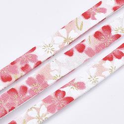 Cordons de tissu plat, motif de fleur, colorées, 9.5x1.5 mm; environ 5 m/rouleau(OCOR-T013-04B-14)