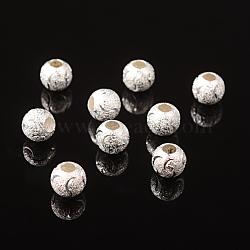 Accessoires de bijoux en laiton, perles, couleur argentée, environ 10 mm de diamètre, épaisseur de 9mm, Trou: 3.5mm(X-EC146-S)