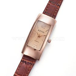 наручные часы высокого качества, кварцевые часы, Головка из сплава и ремешок из искусственной кожи, сиена, 8-3 / 4 (22.1 см); 13x2 мм; головка часов: 45x22x10 мм(WACH-I017-04C)