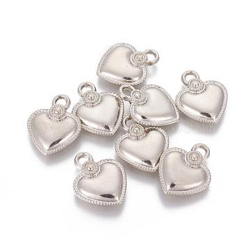 CCB Plastic Pendants, Heart, Platinum, 22.3x18x4mm, Hole: 3mm(CCB-L006-38P)