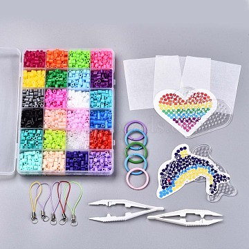 24 Colors 2400pcs Fuse Beads Kits for Kids, Keychain Making, Including Random 2pcs Heart & Dolphin Pattern Paper, Ironing Paper, Pegboards, Mixed Color, 5x5mm, 100pcs/color(DIY-N002-009)