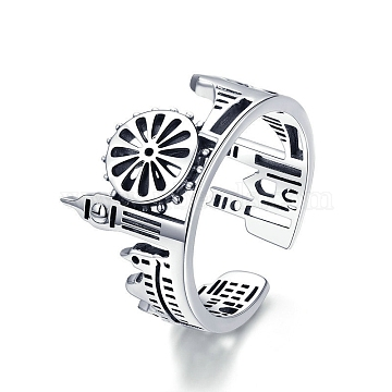 925 Sterling Silver Cuff Rings, Open Rings, Carved 925, Antique Silver, Size 6, 16mm(RJEW-FF0010-12AS)