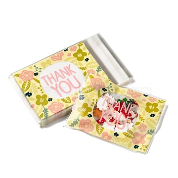 Rectangle OPP Cellophane Bags, Small Jewelry Storage Bags, Self-Adhesive Sealing Bags, with Word Thank You, Colorful, 16.2x9.9cm; Unilateral Thickness: 0.035mm; Inner Measure: 12.8x9.9cm; about 95~100pcs/bag(OPC-I005-06)